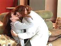 Redhead MILFS kiss before licking and fingering each others tight little holes. Kylie Ireland