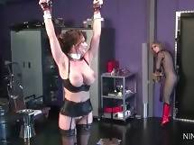 Submissive lesbian Deauxma readily lets Nina do whatever she... - Nina Give Deauxma Pleasure Mixed With Pain 1