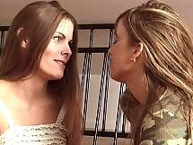 Hot perky babe Mia Presley fingers Heather Silk's brunette pussy before licking. Heather Silk