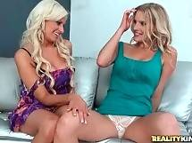 Two pretty next door milfs get a little bit naughty today. - Hot Milfs Brianna And Holly Get Naughty Today 1