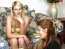 Lesbian girls Heather Silk and Samantha Ryan fight before fucking scissor style in the living room. Samantha Ryan